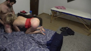 Shy wife gets crazy and fucks hard her younger neighbour !