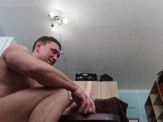 Horny bodybuilder riding huge sweating so much...