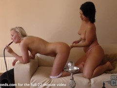smoking hookah double dildo pussy stretching charlotte and samanta lesbian