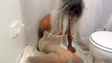 SEXY Teen Ladyboy Plays in Sheer Pantyhose + Penile Anal Masturbation 1440p