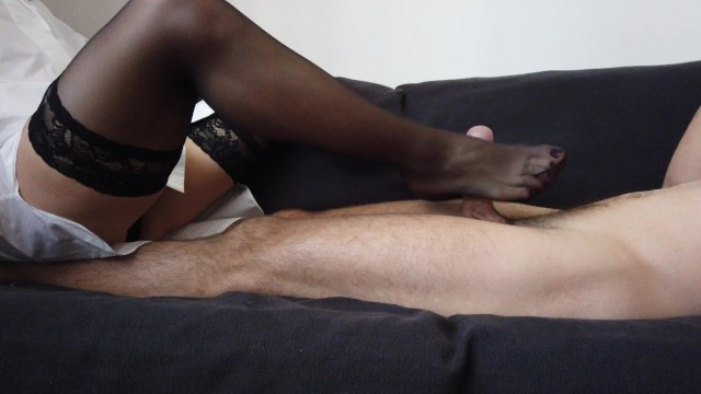 Babe in nylon sexy stocking - A sensual footjob by sexy feet in black stockings