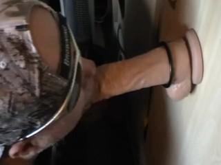 9incher oil dildo sucking