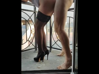 Wife anal at hotel balcony with stranger while husband films