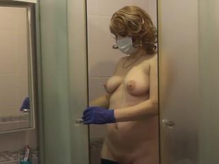 Covid 2019 naked milf disinfect apartment from coronavirus...