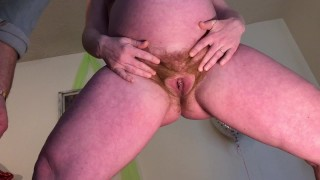 Hairy Pregnant Pussy Spreading ends with Squirting