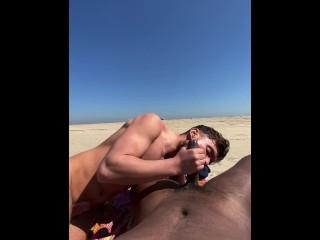 Naked public blowjob cumshot on the...