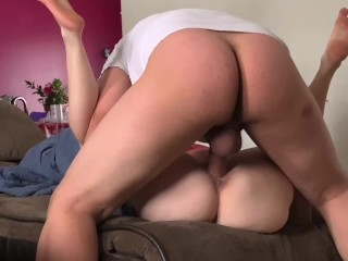 Stretched pounded and creampied on the couch ball...