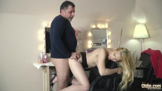 Teen on her knees sucking on grandpa cock taking facial cumshot