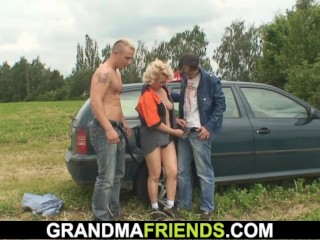 Shaved pussy blonde granny double fucked for money