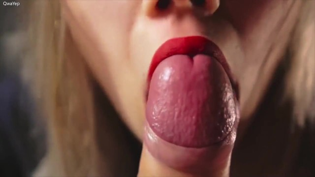 The blonde with the red lips gives me a sweet blowjob 9