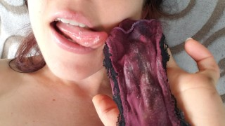 Screen Capture of Video Titled: Tasting My Creamy Burgundy Panties