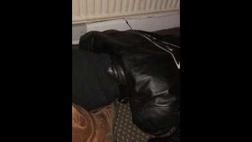 Full leather Biker - Worked my cock and got his reward.