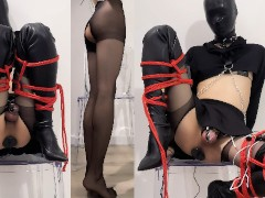 Crossdresser Restrain Bondage, E-stim Purity Box & Butt-plug, Trembling Orgasm