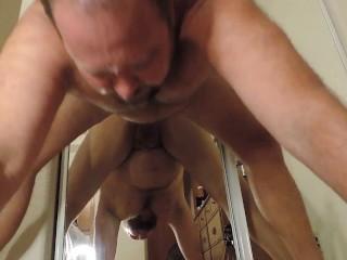 Ass fucking against a mirror