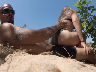 Public secluded beach monika pink and enrique x...