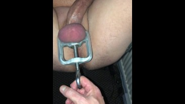 Restrained, fucked and edged this XXL lad. Watch his cum explosion.