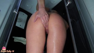 SEXY PUSSY MASTURBATING WITH DILDO IN SHOWER