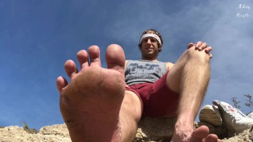 JOI: Hiker Makes Homo Worship His Dirty Feet Outdoors