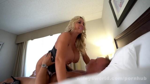 Wifey busty nurse cum swallow - Busty milf goddess swallows a second load of cum