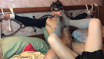 Bound muscular guy cums from her smell of wet socks