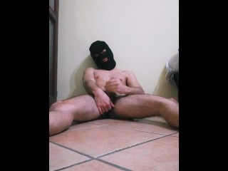 Masked 20 years jerks off while parents home...
