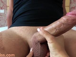 Babe Handjob Huge Cock and Cum Swallow – Female POV
