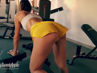 Fit Brunette in Tiny Shorts Fucks me at the Gym and Swallows my Cum