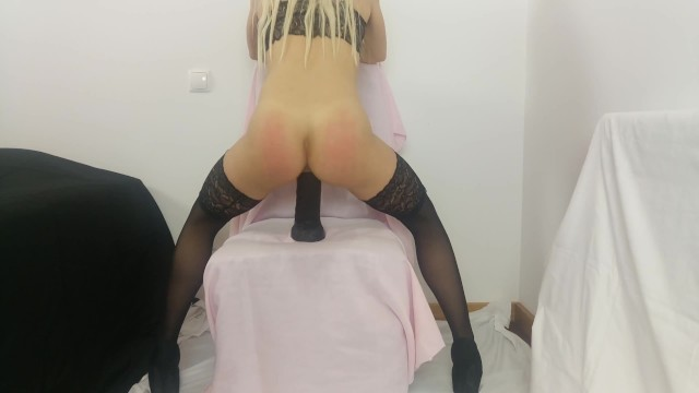 Portuguese cheating slut wife riding 11 inches / 27,5 cm black cock - 4K 20