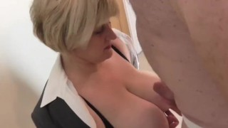 Worker cums on Mature Bosses Tits to save his job