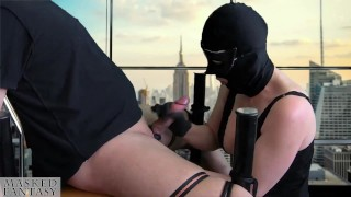 femdom milking a man, tied up to a chair with post orgasm torture BDSM
