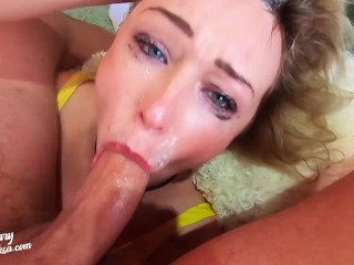 Tiny milf sloppy facefuck and best...