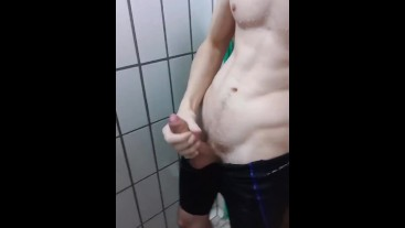 Wanking my huge dick at the pool in public