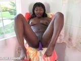 Ebony Noemie Bilas takes on big dildo on sex machine ATK