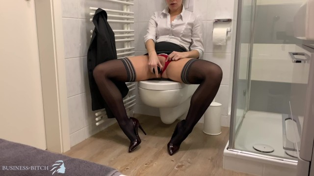 Gays in business suit tubes - Secretary secretly rides her dildo on the office toilet restroom