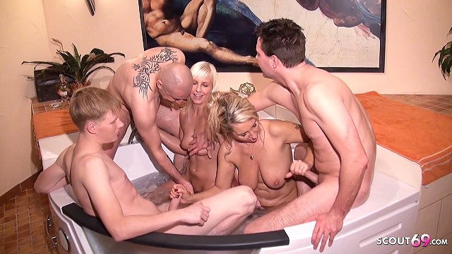 Milf mom son daughter German mom and step daughter at privat group sex in pool