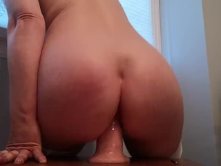 Riding balls deep and stretching my pussy on huge white dildo