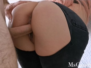Quarantine Sex Nice Pov Fuck In Ripped Jeans Finishing With Creampie