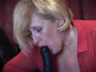 Mature British Milf practises Blow Job Technique on Big Black Dildo