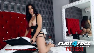 Andrea Montoya on Flirt4Free Fetish – Sexy Latina Jerks Her Strap On Dildo