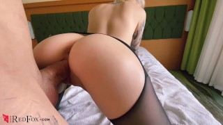 Screen Capture of Video Titled: Babe in Pantyhose Pussy Licking, Hard Doggy Sex and Blowjob with Cum on Tit