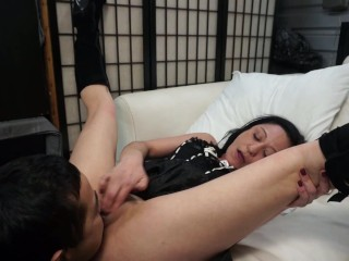 Goth milf squirts in friend's mouth