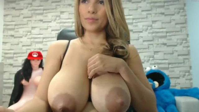 Lactating monster tits - Big breasted lactating latina babe squirts milk and sucks own boobs