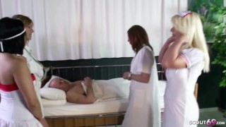 Four Nurses Fuck one Patient at Reverse Gangbang in Hospital
