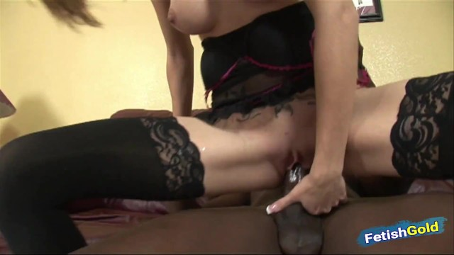 Beautiful blonde babe stretched by a big black cock on the couch 10