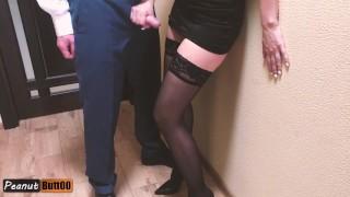 MILF secretary giving handjob to her boss cumshot on dress and stockings