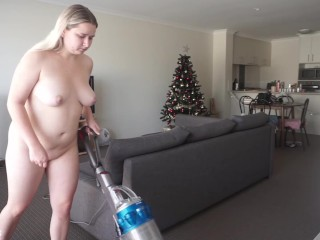 Ho does housework vacuuming nude trailer...