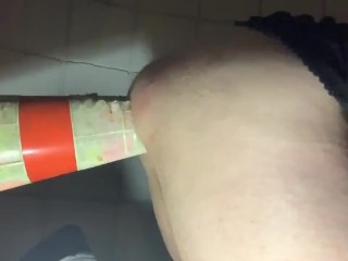 BBW Fucks Her Sloppy Cunt With A Traffic Cone Under A Public Staircase