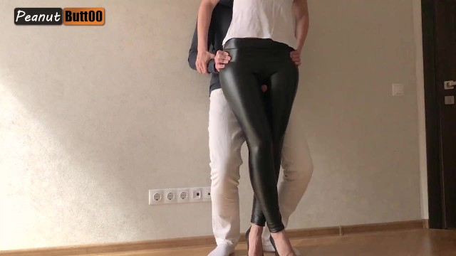 New vintage looking clothing - Tightjob wet looking leather pants and high heel cum on leather pants