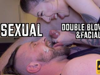 Quarantined bisexual double blowjob facial...