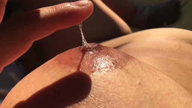 Vaginal bacteria delivery - Massaging my boobs with my own vaginal fluids - nipple playing